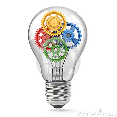 Free Light Bulb And Gears. Perpetuum Mobile Idea Concept. Royalty Free Stock Photos - 35813948