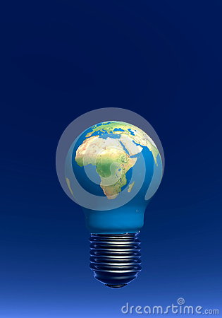 Light bulb as earth - 3D render