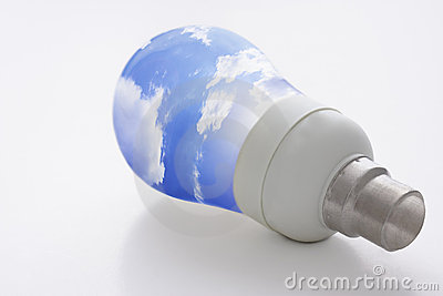 Light bulb and blue sky