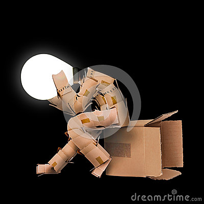 Free Light Bulb Box Character Unhappy Stock Photography - 36997582