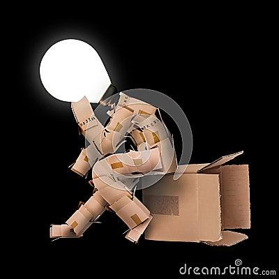 Free Light Bulb Box Man Character Royalty Free Stock Photos - 37005298
