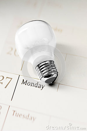 Light bulb on calendar, everyday innovation