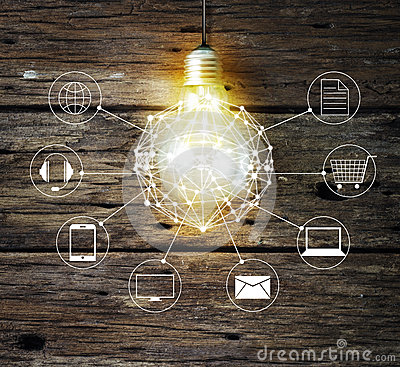 Free Light Bulb Circle Global And Icon Customer Network Connection On Wooden Background Royalty Free Stock Photo - 72590155