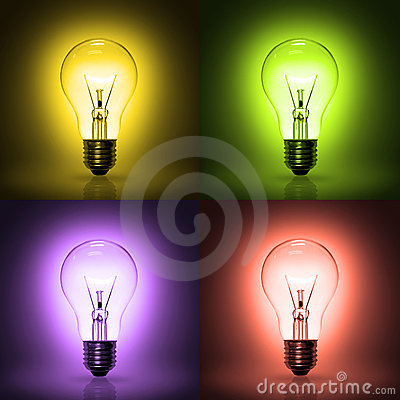 Light bulb on colorful