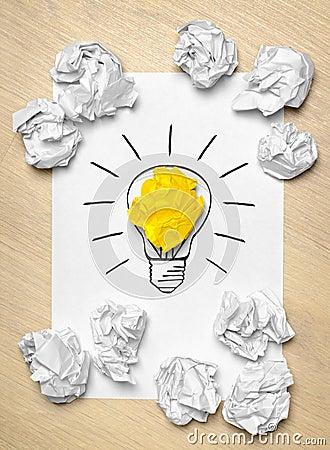 Light bulb crumpled paper
