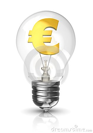 Light bulb with a euro sign