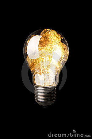 Light Bulb with Flames