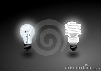 Light bulb and fluorescent light - illustration