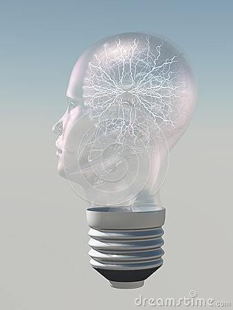 Light bulb in form of human head electric