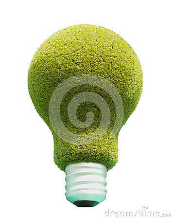 Light bulb with green grass.