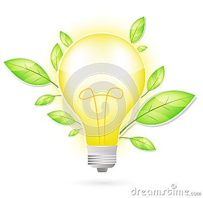 Light bulb and green leaf
