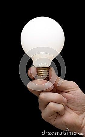 A light bulb in a hand