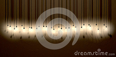 Light Bulb Hanging Wall Arrangement Front