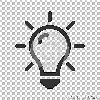 Light bulb icon in flat style. Lightbulb vector illustration on Vector Illustration