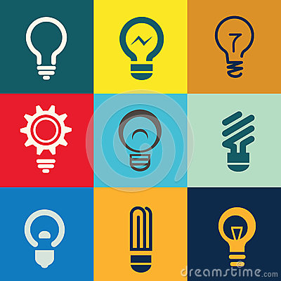 Free Light Bulb Icons Set Royalty Free Stock Images - 41184459