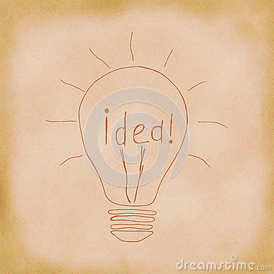 Light bulb idea. Hand drawn. Stock Photo
