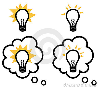Light bulb or idea isolated and in thought bubble