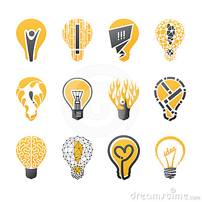 Light bulb idea. Vector logo template set.