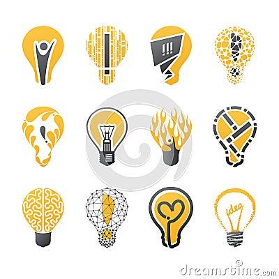 Free Light Bulb Idea. Vector Logo Template Set. Stock Photo - 24346750