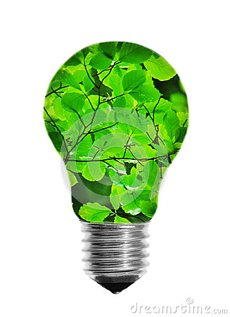 Light bulb with leaves