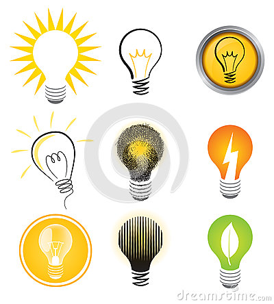 Free Light Bulb Logo Set Stock Photo - 27845960