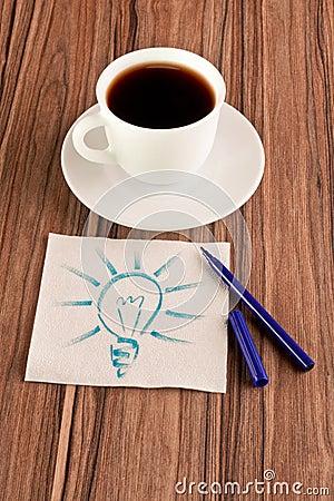 Light bulb on a napkin