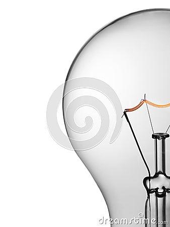 Light bulb over white