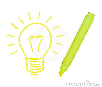 Light bulb painted yellow marker.