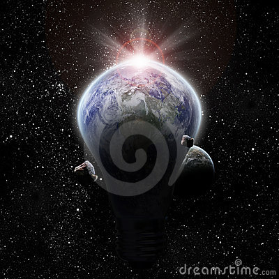 Light bulb and planet earth