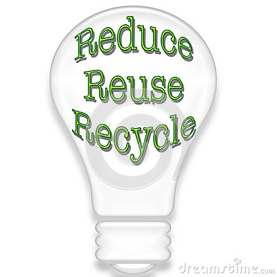 Light bulb with recycle theme