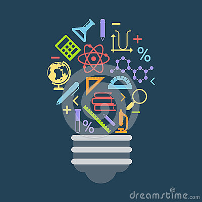 Free Light Bulb Shape Idea Concept Formed By Education Icons Royalty Free Stock Photo - 51454795