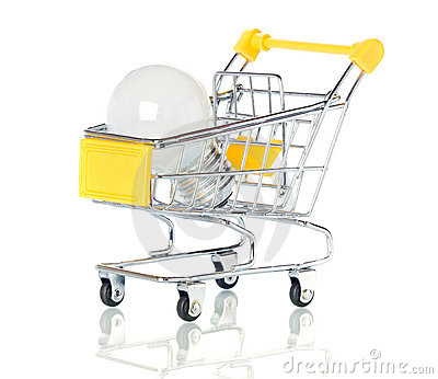 Light bulb in the shopping cart