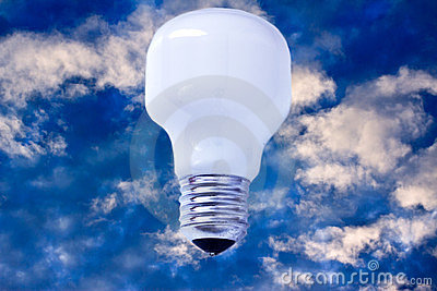 Light bulb on sky, concept of creativity/success