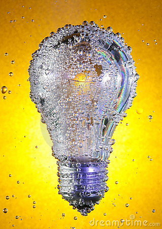 Light bulb in soda water