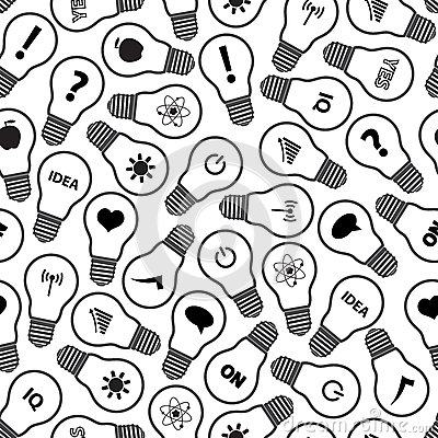 Light Bulb Symbols With Various Idea Icons Pattern Stock Vector ...