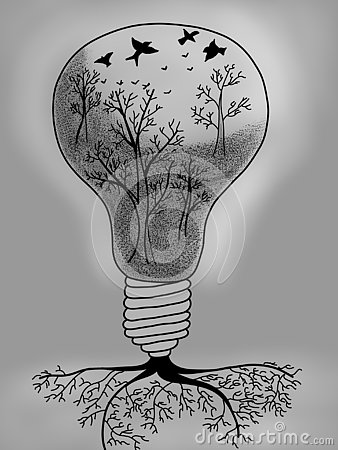 Light bulb with tree inside Stock Photo