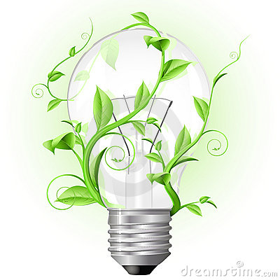 Light bulb twisted with plant