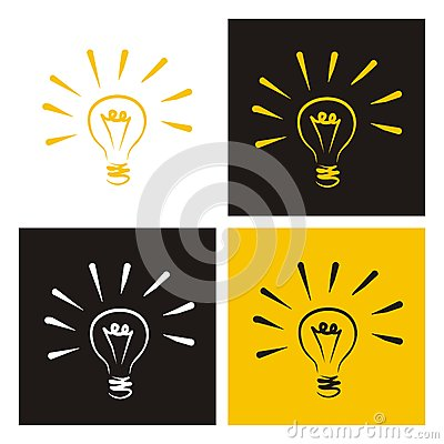 Light bulb vector icons doodle set creative sign