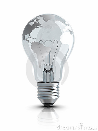 Light Bulb with World Map