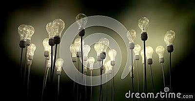 Light Bulbs Aiming Skyward With Eerie Glow