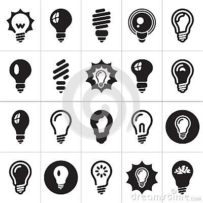 Free Light Bulbs. Bulb Icon Set Stock Image - 25991791
