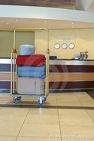 Light cart with the coloured suitcases