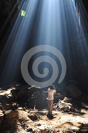 Light in the cave. Stock Photo
