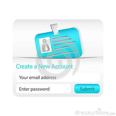 Light create a new account form with light blue ID card