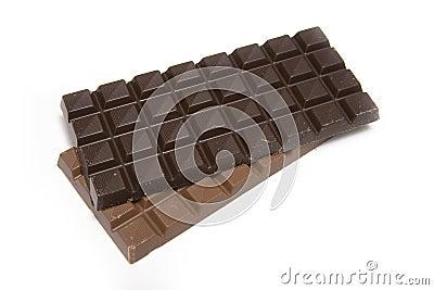 Light and dark chocolate bars