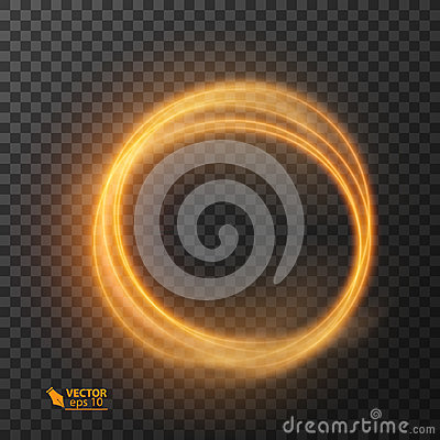 Free Light Effect Line Gold Vector Circle. Glowing Light Fire Ring Trace. Glitter Magic Sparkle Swirl Trail Effect On Royalty Free Stock Images - 99179089
