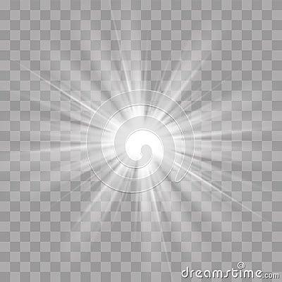 Light rays flash sun star shine radiance effect Vector Illustration