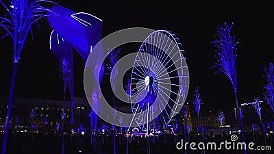 Light festival in Lyon stock video