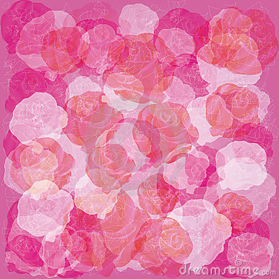 Light floral background with white and red roses