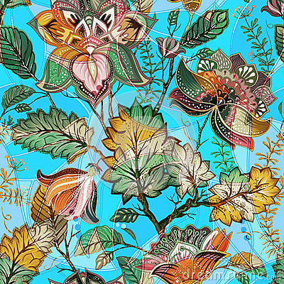Free Light Floral Seamless Pattern. Hand Drawn Backdrop. Colorful Background. Pattern Can Be Used For Fabric, Wallpaper  Stock Images - 86197084